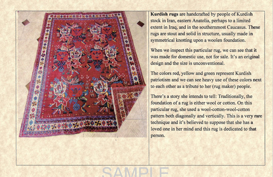 ... Rugs From All Around The Globe To Work, And Appraise Your Treasured Rugs  To Determine Its Age, Origin, Value, Material, Dye Type, Etc. And History  ...